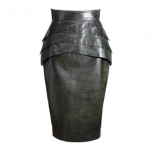 Dark green leather skirt  small - 1