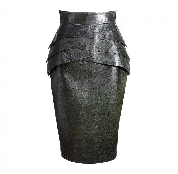 Dark green leather skirt  - 1