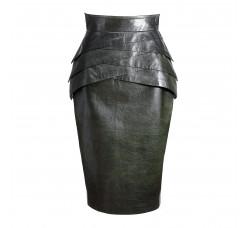 Dark green leather skirt