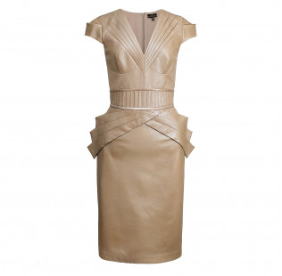 Branded  stitching leather dress small - 1