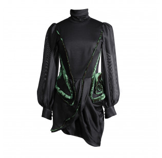 Black mini dress with transparent sleeves small - 1