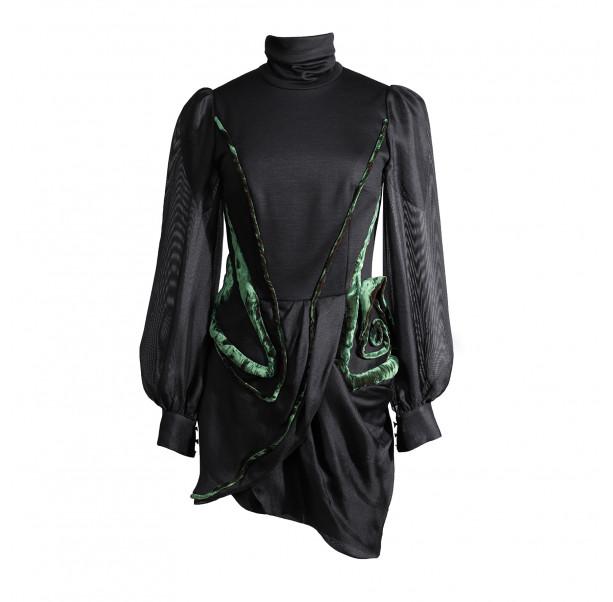 Black mini dress with transparent sleeves - 1