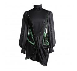 Black mini dress with transparent sleeve