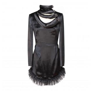 Black velvet minidress small - 1