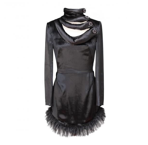 Black velvet minidress - 1