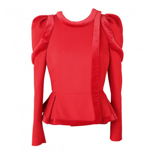 Red jacket with fasteners supat and peplum small - 1