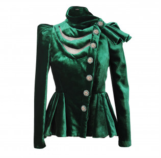 Velour evening jacket with bow small - 1