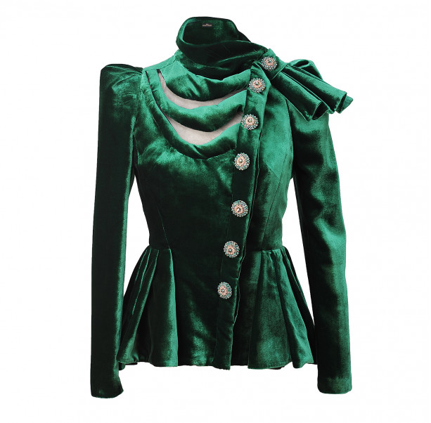 Velour evening jacket with bow - 1