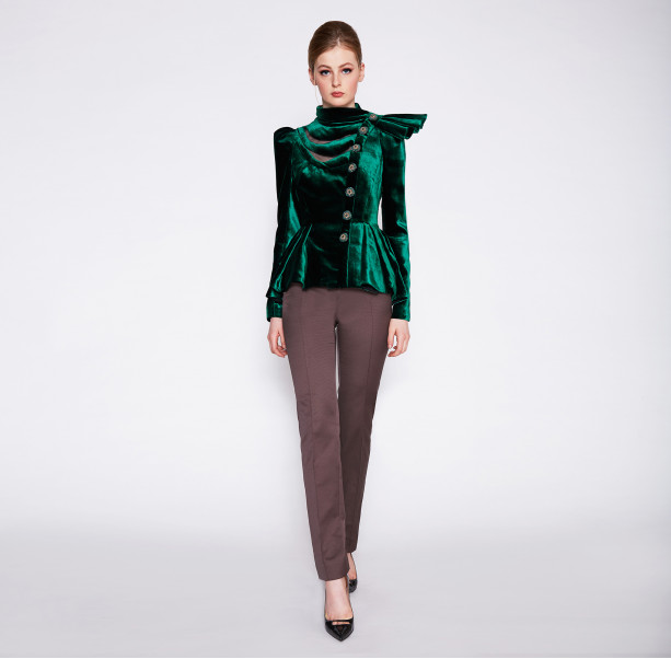 Velour evening jacket with bow - 2