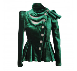 Velour evening jacket with bow