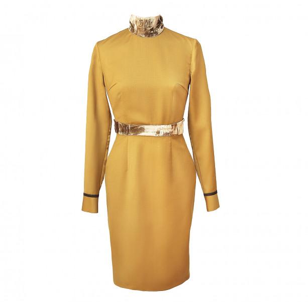 Steath dress with velvet belt - 1