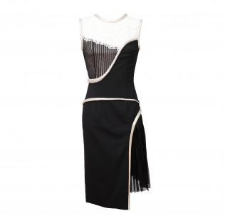 Black white dress with Art nouveau motives small - 1