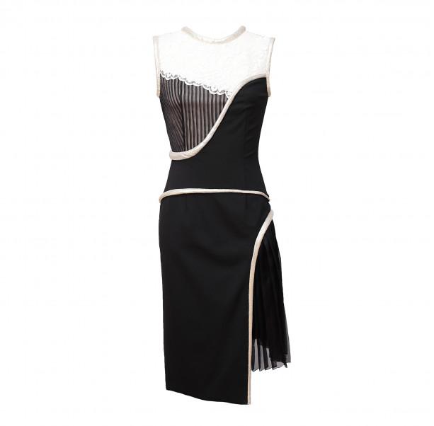 Black white dress with Art nouveau motives - 1