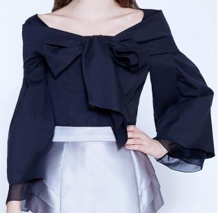 Bow silk cotton blouse  small - 2