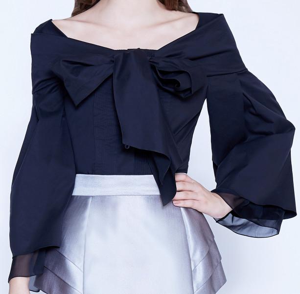 Bow silk cotton blouse  - 2