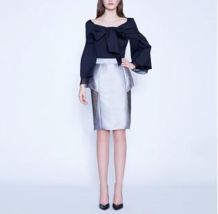 Bow silk cotton blouse  small - 5
