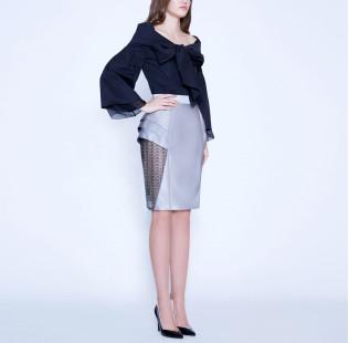 Bow silk cotton blouse  small - 4