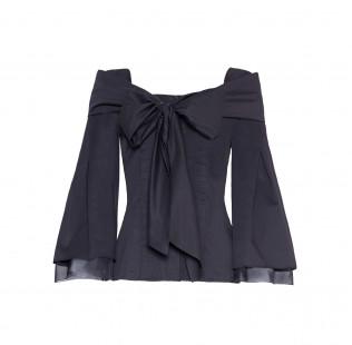 Bow silk cotton blouse  small - 1