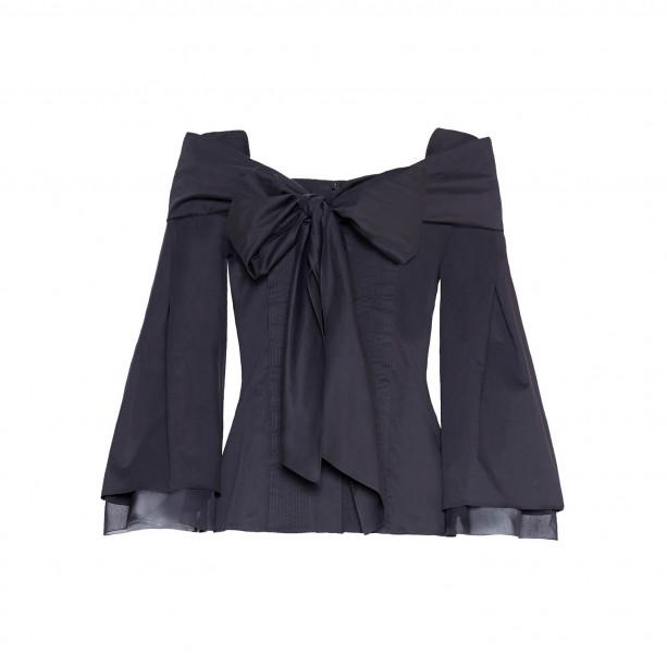 Bow silk cotton blouse  - 1