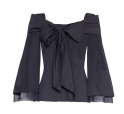 Bow silk cotton blouse