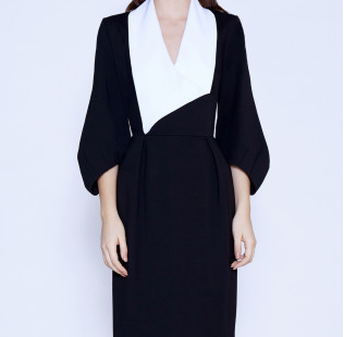 Business dress with a white shawl collar small - 2