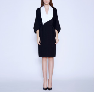 Business dress with a white shawl collar small - 6