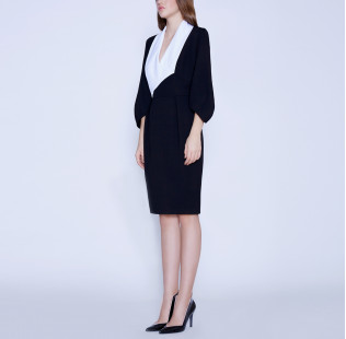 Business dress with a white shawl collar small - 5