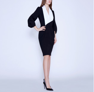 Business dress with a white shawl collar small - 4