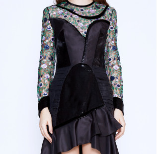 Floral sequins dress small - 2