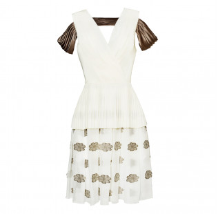 White pleated dress small - 1