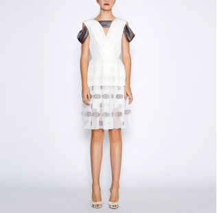 White pleated dress small - 6