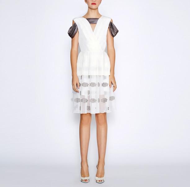 White pleated dress - 6