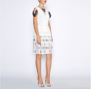 White pleated dress small - 5