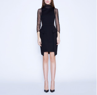 Strict sexy dress with transparent sides small - 6