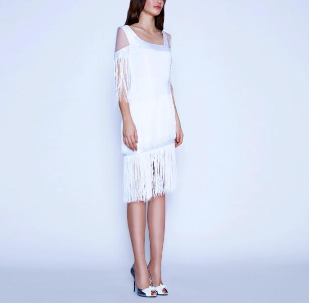 Art Nouveau fringe dress - 5