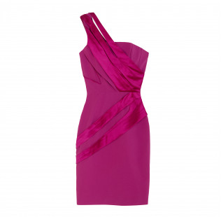 Asymmetrical fuchsia dress small - 1