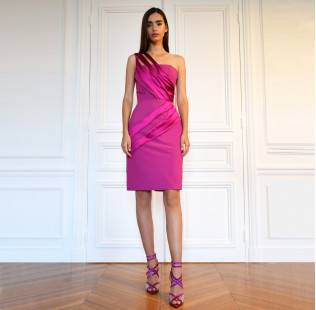 Asymmetrical fuchsia dress small - 2