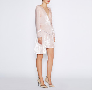Pink velvet dress small - 5