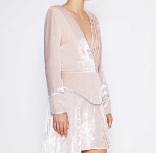 Pink velvet dress small - 2