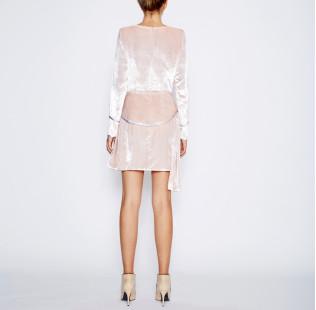 Pink velvet dress small - 3
