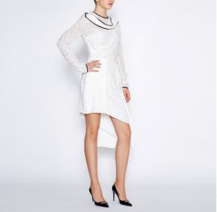 Asymmetrical white dress small - 4