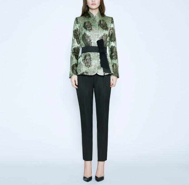 Brocade jacket with silk belt - 6
