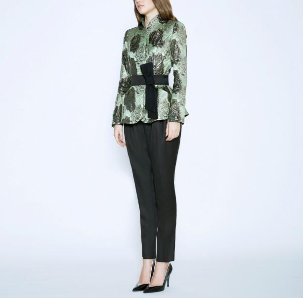 Brocade jacket with silk belt - 4