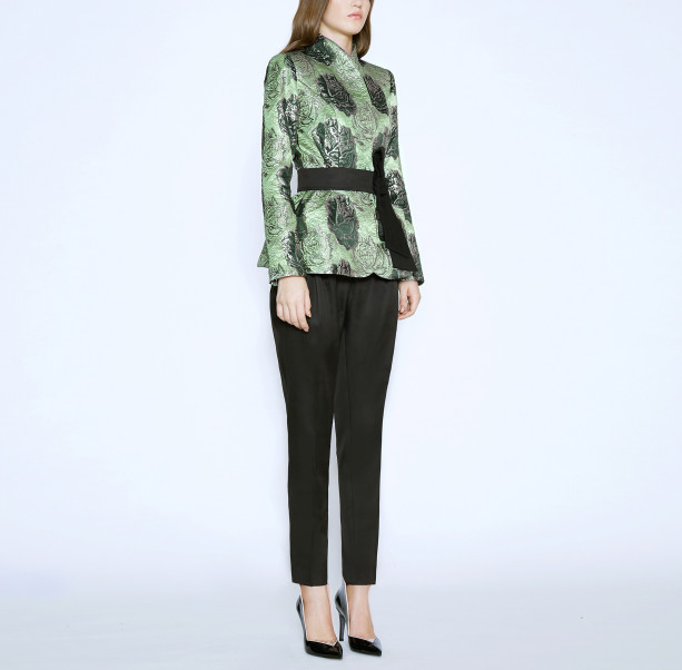 Brocade jacket with silk belt - 5