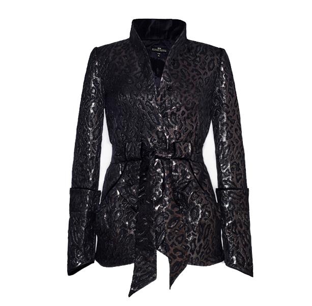 Leopard jacquard jacket - 1