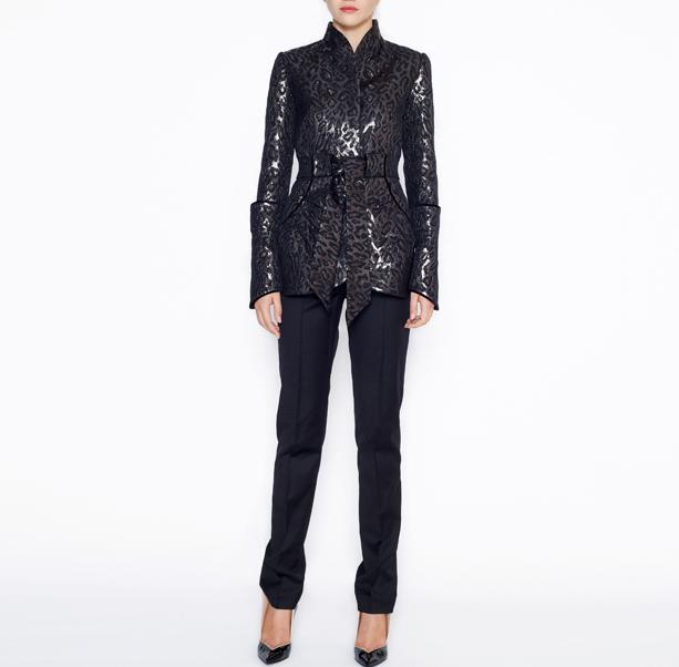 Leopard jacquard jacket - 6