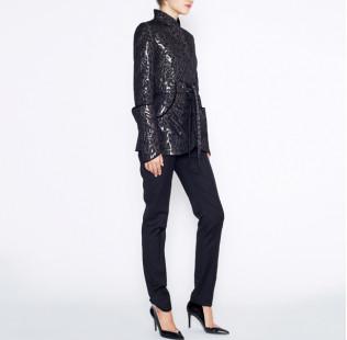 Leopard jacquard jacket small - 4