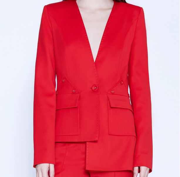 Asymmetric suit with buttons - 2