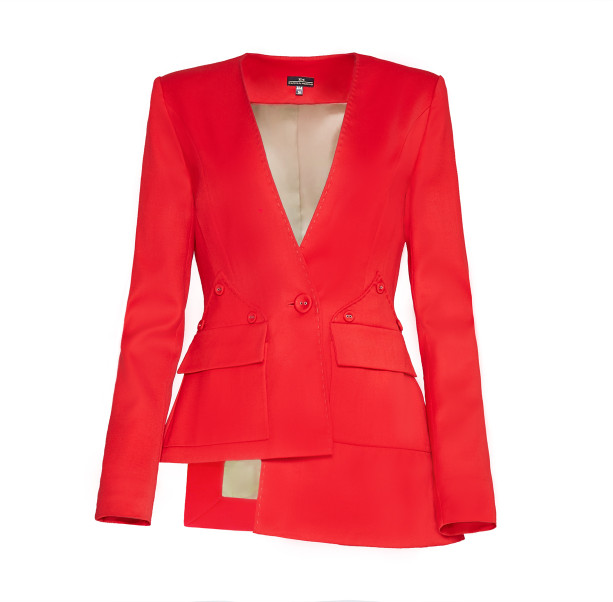 Asymmetric suit with buttons - 1