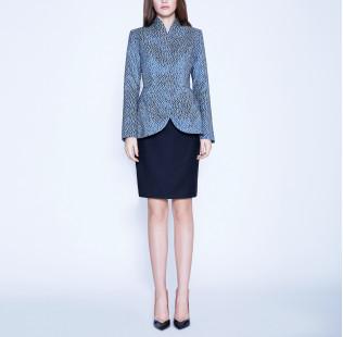 Light blue jacquard jacket small - 6